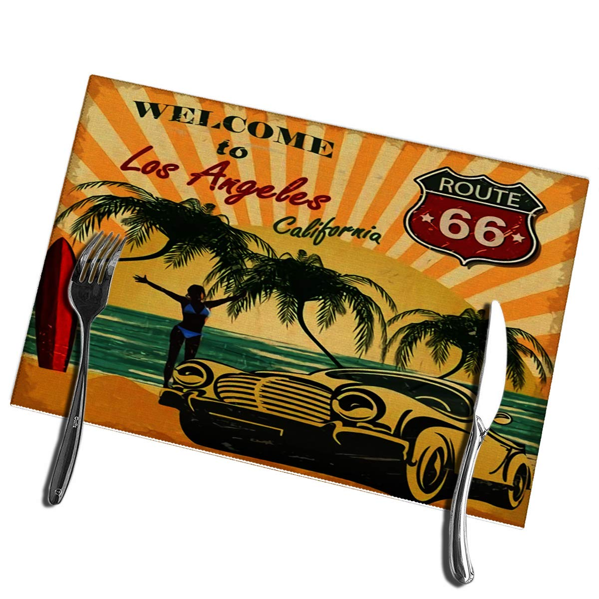 Yxungdiy Dining Table Placemats Set of 6 Welcome to Los Angeles California Retro Poster Heat-Resistant Placemats
