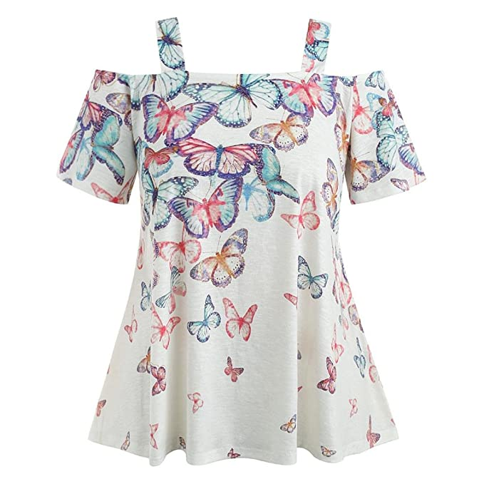 22a1f5b3f9a61 Women Ladies Off Shoulder Tops Blouse Plus Size Mingfa Summer Casual  Butterfly Printed Short Sleeve T-Shirt Green  Amazon.co.uk  Clothing