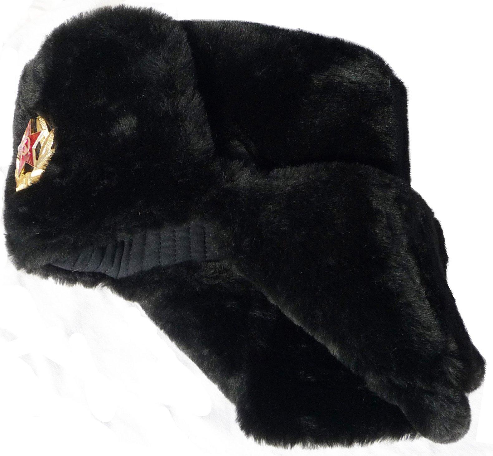 Soviet Star Size L USSR Army Winter Black Fur USHANKA HAT Russian
