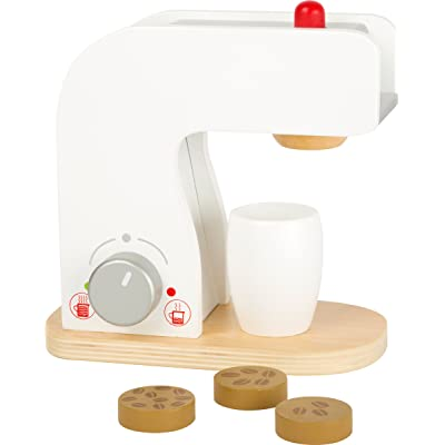Small Foot Wooden Toys Coffee Machine, Cups and Coffee Beans Complete playset for Play Kitchens Designed for Children Ages 3+: Toys & Games