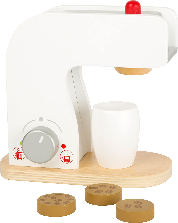 Small Foot 10593 Kaffeemaschine aus Holz mit Dreh- und Druckknöpfen Sowie Kaffeetasse und Holzplättchen mit Kaffeebohnen-Ausdruck als Inhalt, Ideales Zubehör für Die Kinderküche Small foot by Legler