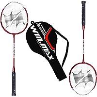 WIN.MAX Raquettes de Badminton, Set 2, Alliage d'aluminium, 2 Joueurs, y Compris Sac de Badminton - Noir