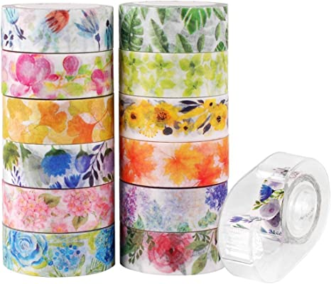 Spring Florals with Scalloped Edge Washi Tape Roll