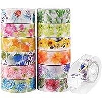 Knaid Floral Washi Masking Tape Set + Tape Dispenser, Spring Flower Decorative Paper Tapes for Arts and DIY Crafts…