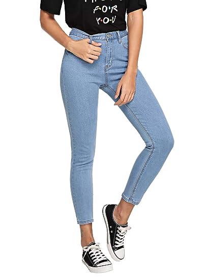 b63a57374f9b0 DIDK Femme Jeans Pantalon Taille Haute Jeggings Unicolore Pantalon Crayon  Moulant Court Casual Bleu: Amazon.fr: Vêtements et accessoires