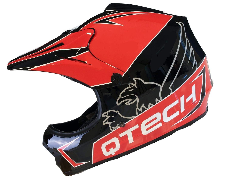 Qtech Childrens KIDS MOTOCROSS MX Style Helmet BMX Quad Bike Pulsar Silver Medium