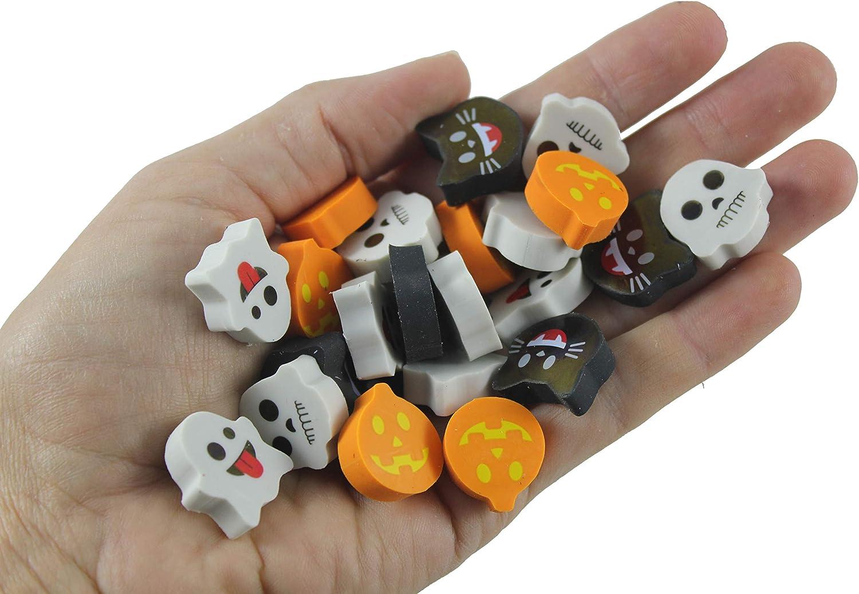Ghost Bulk 144 Halloween Cute Emoji Mini Erasers Cat Skeleton Trick or Treat Jack o Lantern Pumpkin 12 Dozen