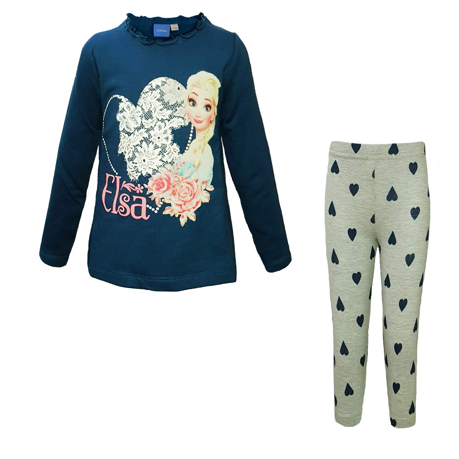 WD33208 Leggings in Cotone Art Disney Tuta Frozen maximaglia in Felpa