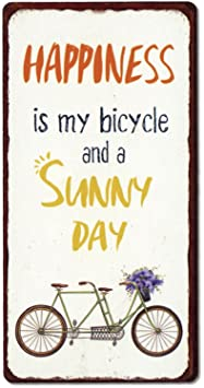 Schild Magnet - Happiness is My Bicycle and a Sunny Day !! - Blechschild 10 cm Vintage Fahrrad glücklich