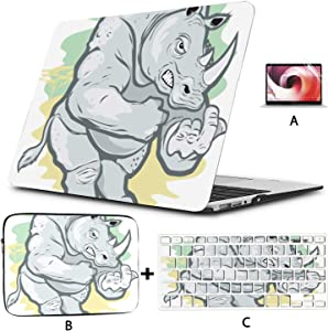 Laptop Pro Accessories Big Tough Rhino Cartoon Case for MacBook Hard Shell Mac Air 11
