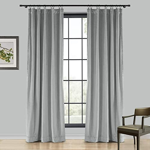 TWOPAGES Velvet Curtain, 102 Inches Long Solid Room Darkening Back Tab Single Curtain Panel, Grey 1 Panel 100Wx102L