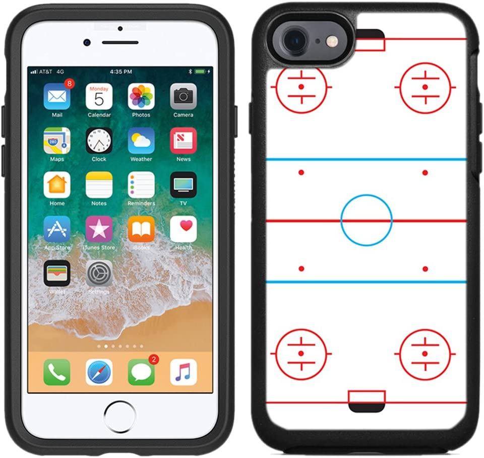 Teleskins Protective Designer Vinyl Skin Decals/Stickers Compatible with Otterbox Symmetry iPhone 8 / iPhone 7 / SE 2020 Case - Ice Hockey Rink Design Patterns - only Skins and not Case