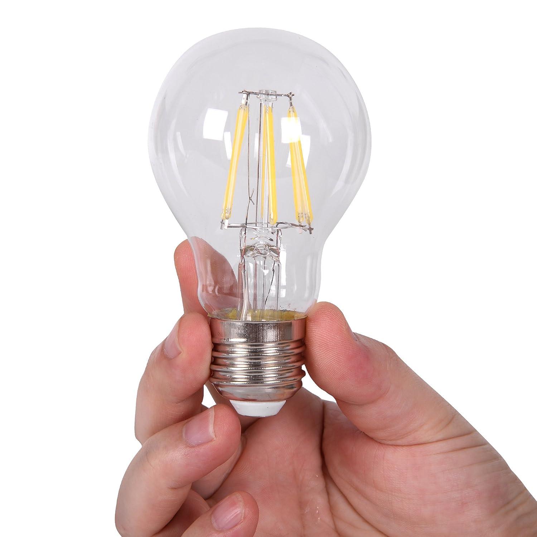 12V E26 Light Bulb A19 PURE WHITE 6000k 4W LED Edison 12 Volt Classic Medium Base Lamp Low Voltage Battery System RV Marine Boat Solar Train Retro Landscaping Van Industrial DC Grid Lighting 6 Pack