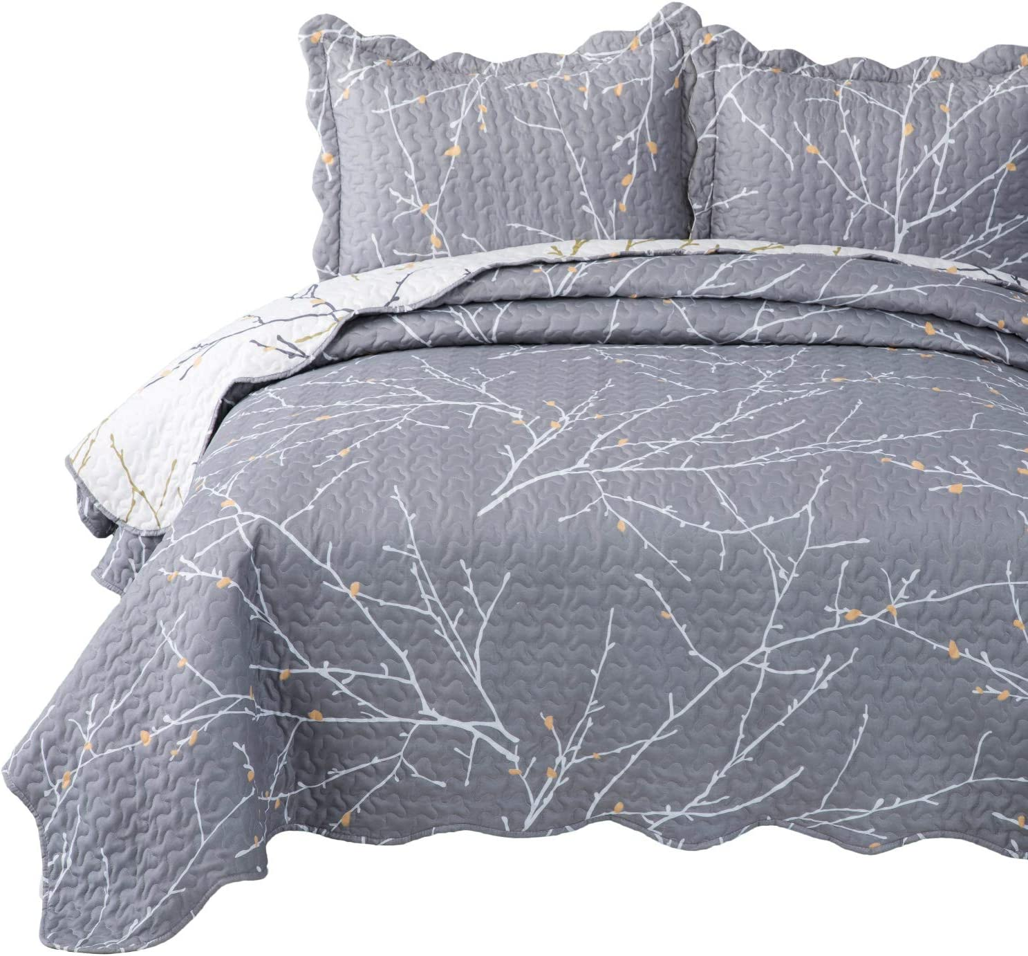 Bedsure Quilt Set Full/Queen Size(90x96 inches) - Tree Branch Floral Pattern - Lightweight Microfiber Bedspread Coverlet Quilt for Spring and Summer, 1 Quilt and 2 Pillow Shams - Grey/Ivory