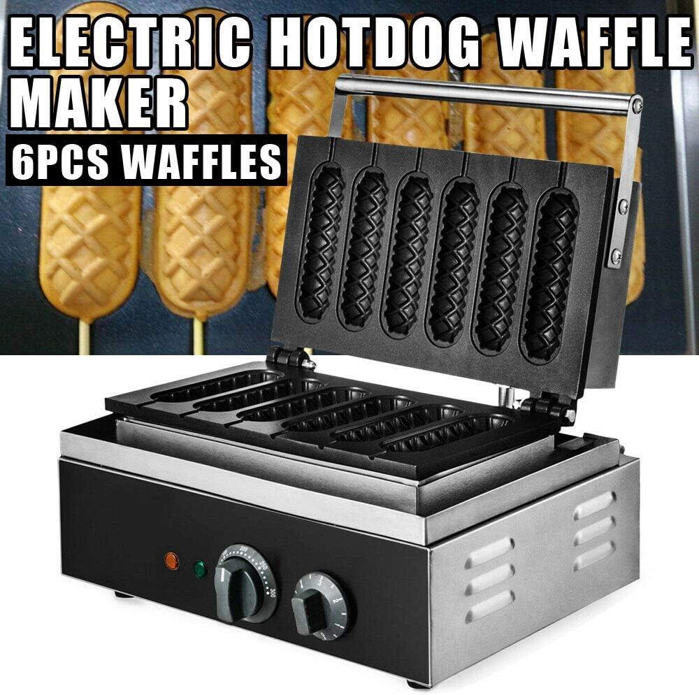 1500W Commercial Stick Waffle Maker Non Stick Sausage Hot Dog Machine Steel 110V Electric Corn Dog 6pc Commercial Use Nonstick Stick Waffle Maker Hot Dog Muffin Machine