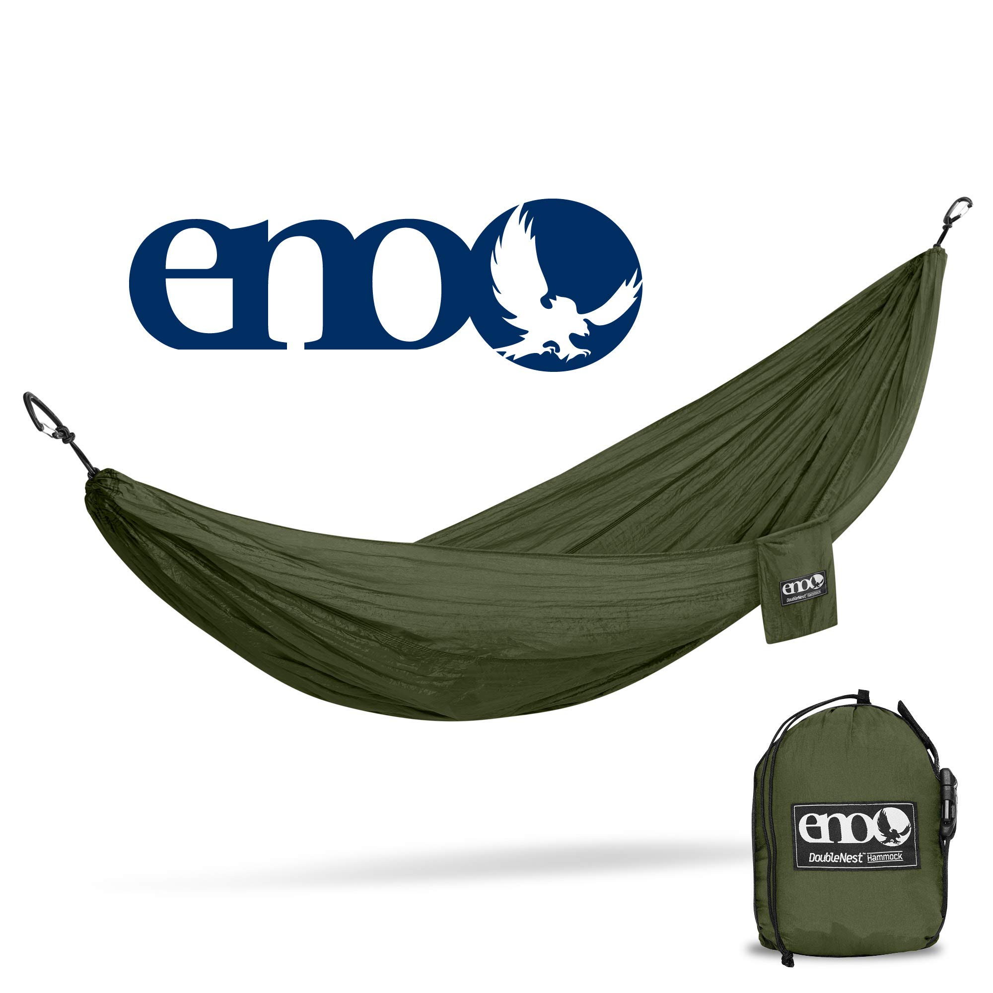 eno - Eagles Nest Outfitters DoubleNest Hammock, Portable Hammock for Two, Olive/Olive
