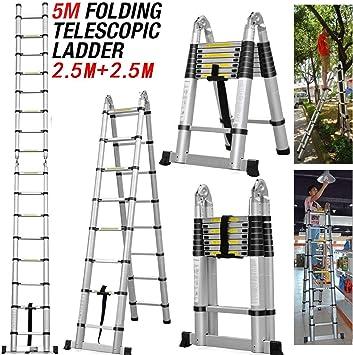 Escaleras multiusos de aluminio telescópico plegable, ahorra espacio en el marco de la escalera 150 kg,