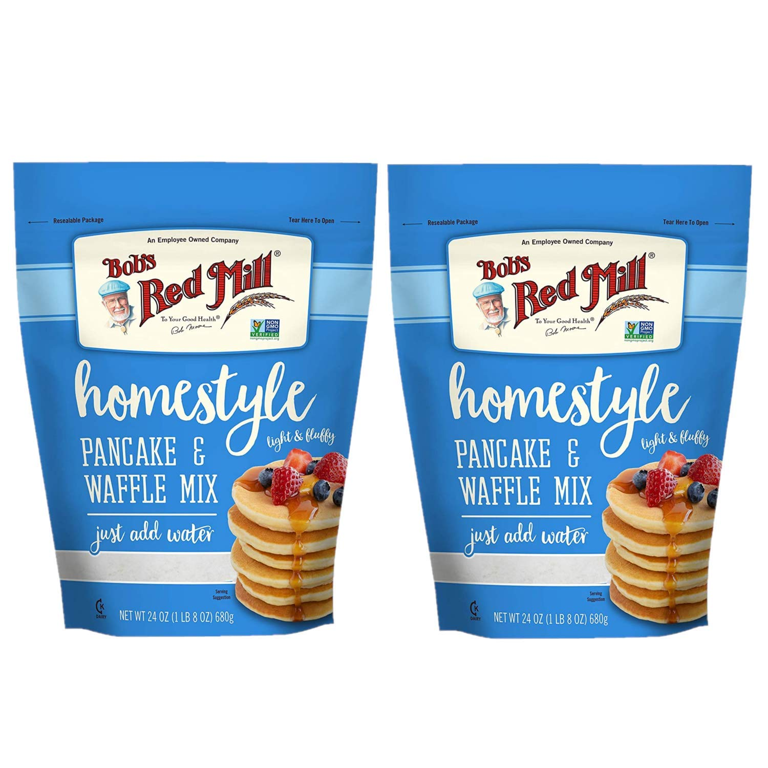Bob's Red Mill Homestyle Pancake and Waffle Mix 24 oz (Two Pack, 48 oz Total - Instant, Easy to Use Fluffy Pancake Mix - Just Add Water - Two Pack Pancake and Waffle Mix (Two 24 oz Resealable Bags)