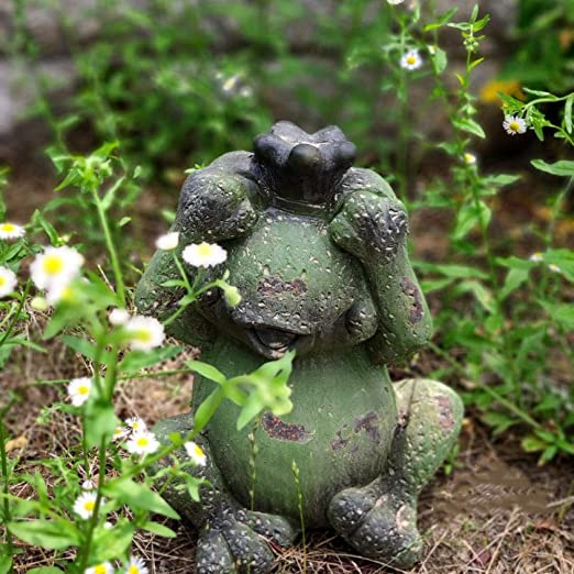 Estatuas Figuritas Decoración Jardín Al Aire Libre Patio Césped Retro Viejos Adornos Zen Adornos Paisajismo Corona Tres No Rana-A: Amazon.es: Hogar