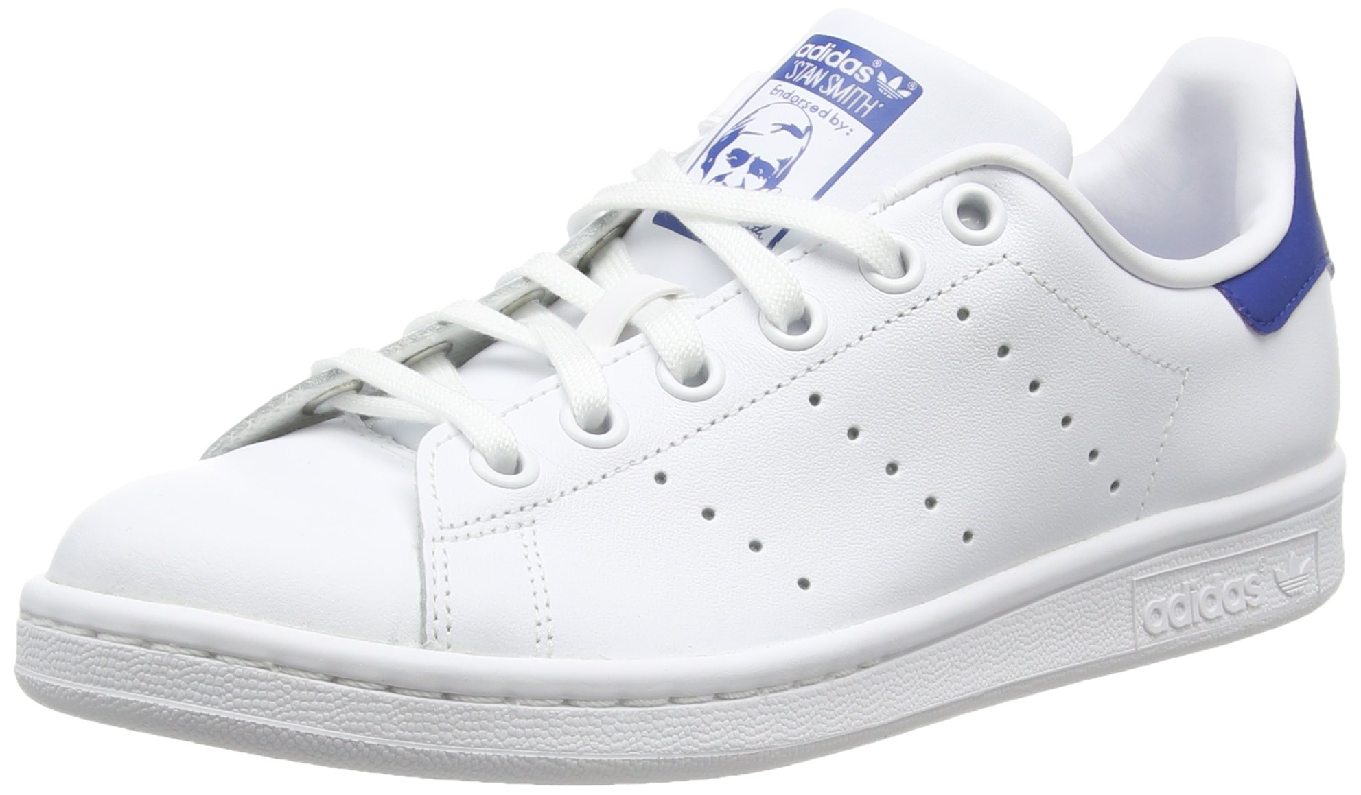 adidas Originals Stan Smith J White/Blue Leather 5.5 M US Big Kid