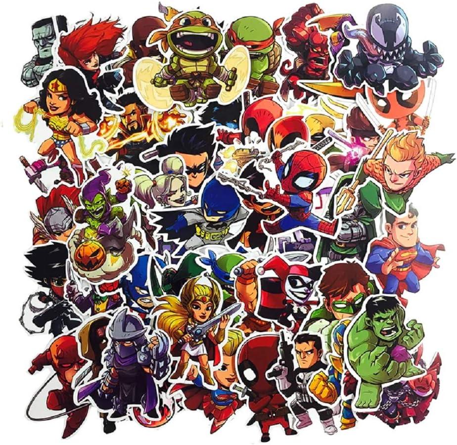 SetProducts  Top Pegatinas! Juego de 50 Pegatinas de Superhéroes Marvel Vinilos - No Vulgares - Estilo, Bomba, Super Héroes - Personalización, Scrapbooking, Bullet Journal