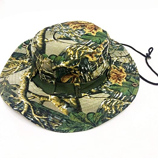 69316a7526d Amazon.com  Military Camouflage Boonie Hat Disguised Bucket Hat Men Tactical  Bucket Hat Hunting Hiking Fishing Cap 1 for Adult  Clothing