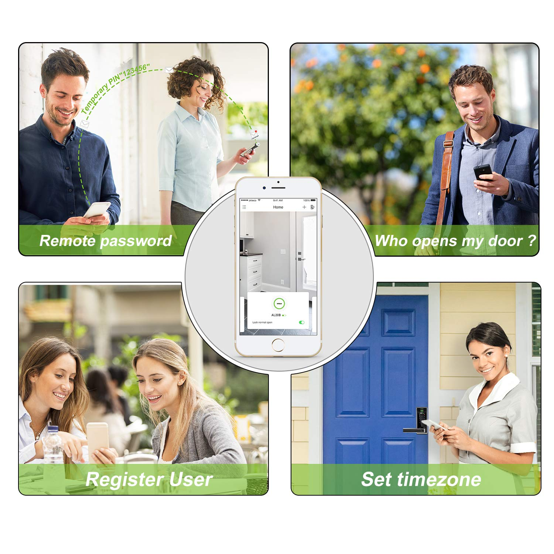 ZKTeco AL20B Cerradura biom/étrica con huella dactilar Bluetooth dormitorio Teclado Digital Cerradura electr/ónica para el hogar hotel habitaci/ón