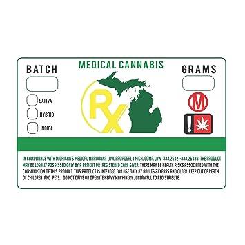 Amazon com michigan mi medical marijuana cannabis state compliance weed strain stickers 1 25 x 2 250 office products