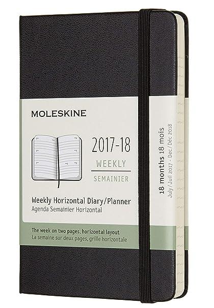 Moleskine Wochenkalender, Taschenkalender, 18 Monate, 2017/2018, Horizontal, bolsillo, A6, tapa dura, negro