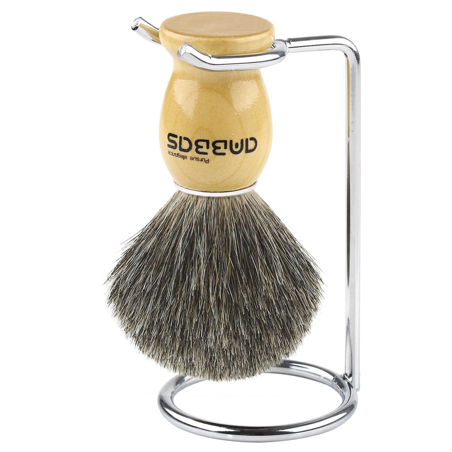 Shaving Brush Set 4in1 Anbbas Genuine Badger Shave Brush Wood Handle, Stainless Steel Shaving Stand and Soap Cup Dia 3.2 with Shaving Soap Bar Natural & Organic 3.5oz for Men Manual Shaving