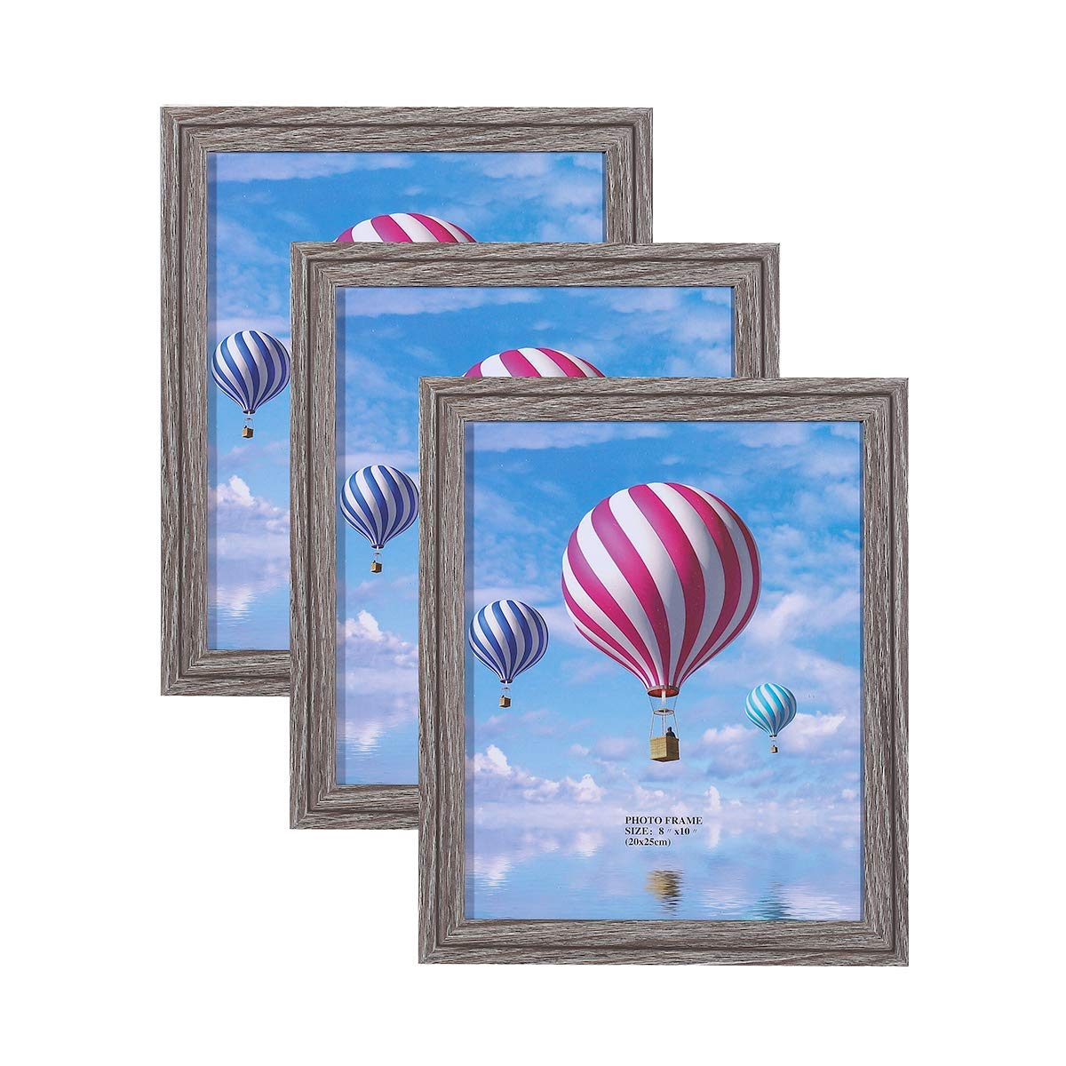 Metrekey 8x10 Picture Frame (3 Pack, Gray Oak Wood Finish), Photo Frame 8x10,for Table Top Display and Wall mounting Photo Frame by Metrekey