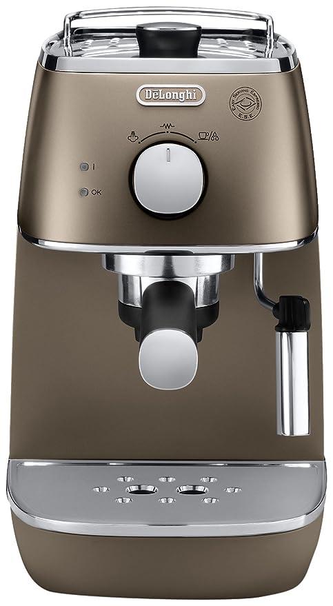 DeLonghi Distinta Cafetera Espresso manual para café molido y monodosis ESE, 1050 W, 2 cups, acero inoxidable, Bronce