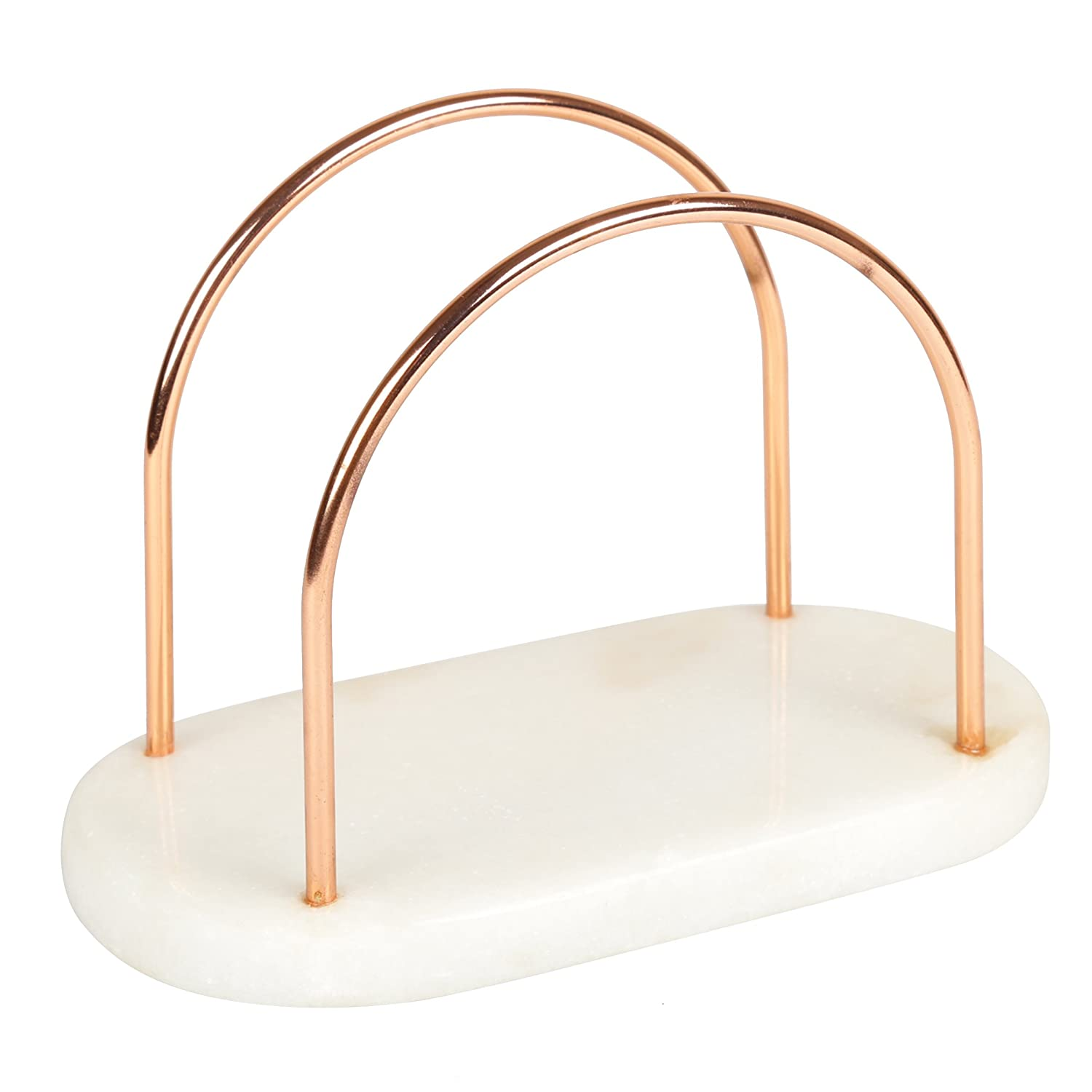 "Creative Home 50241 Natural Marble and Wire Napkin Holder with Copper Finish, 7-1/2"" x 4"" x 5-1/8"" H, Off-White (patterns may very)"