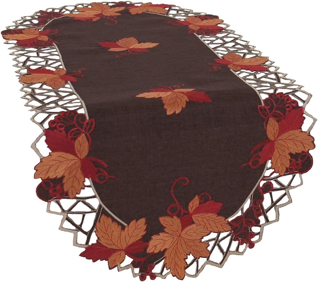 Xia Home Fashions Harvest Hues Embroidered Cutwork Fall Table Runner 16 By 34 Inch Home Kitchen Amazon Com