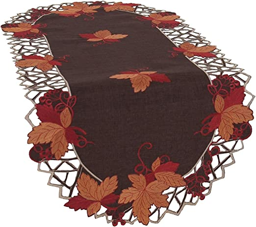Xia Home Fashions Delicate Lace Embroidered Cutwork Table Runner 16 by 34-Inch 16 x 34