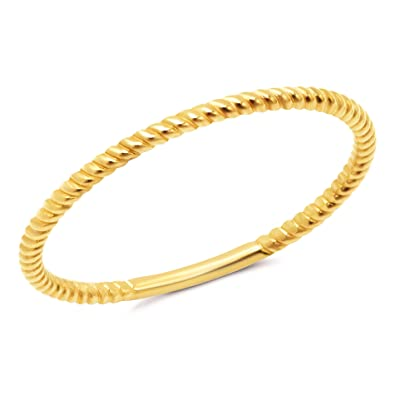 35dc2eb78957a0 Amazon.com: 1mm Thin 14k Yellow Gold Rope Textured Stackable Wedding ...
