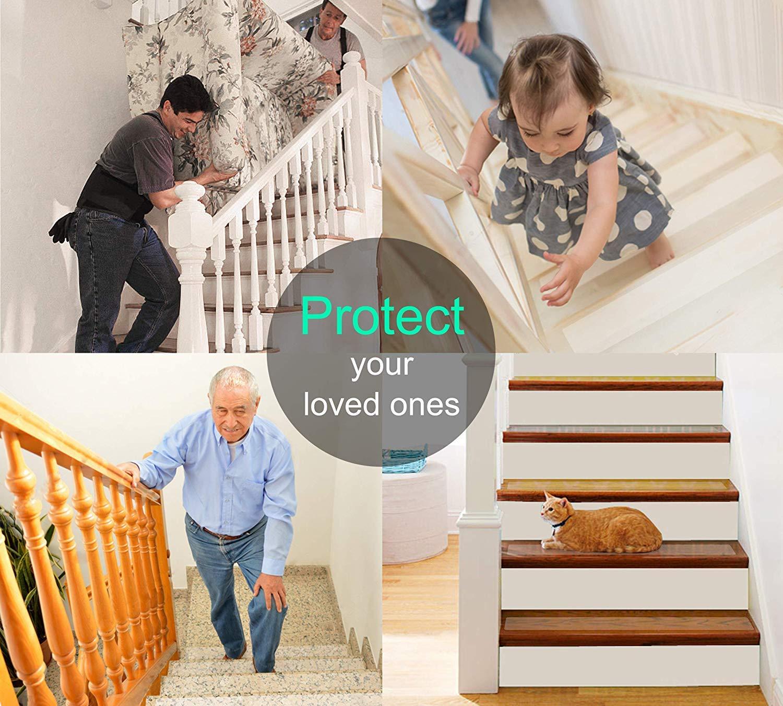 Queta Lot de 15 Bandes antid/érapantes antid/érapantes pour escaliers Transparent 10 x 60 cm