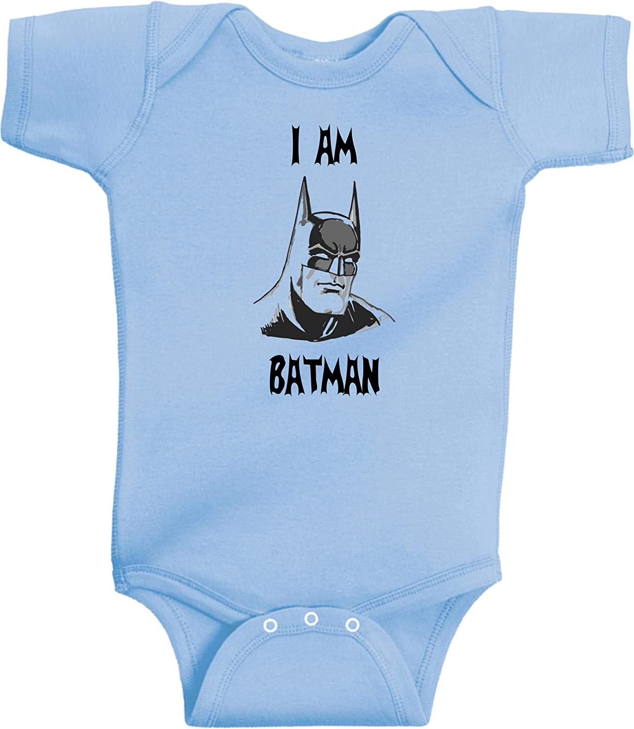 12 Months, Pink I Am Batman Funny Super Hero Onesie by BeeGeeTees