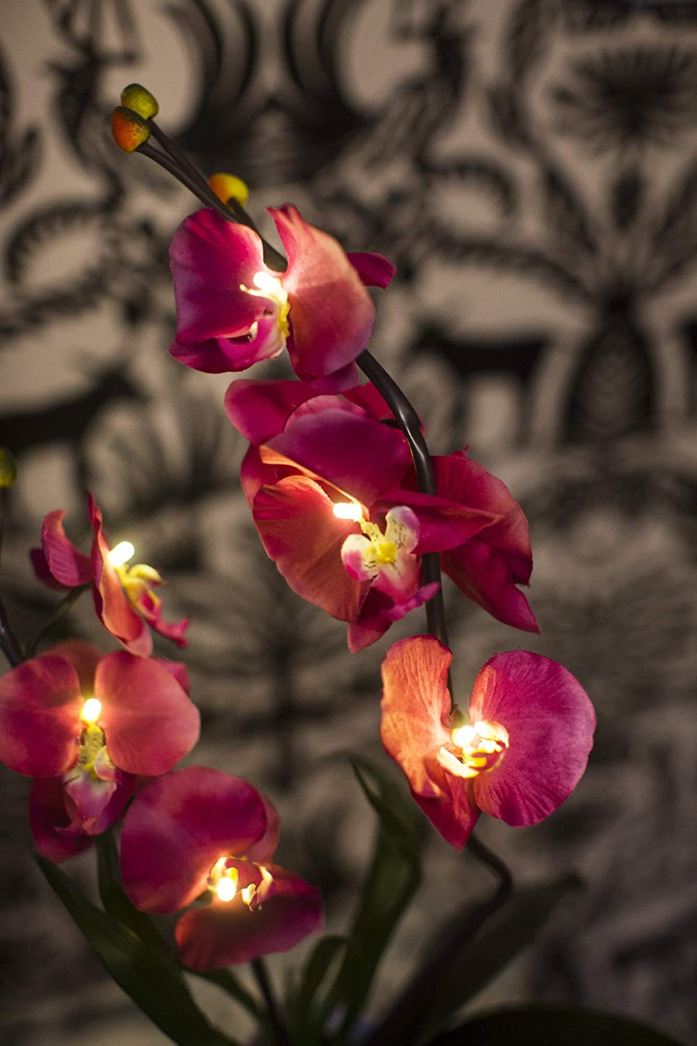 Orchid and Ivy Lighted Artificial Orchid Flower Plant with Timer White Battery Operated with 9 Lights