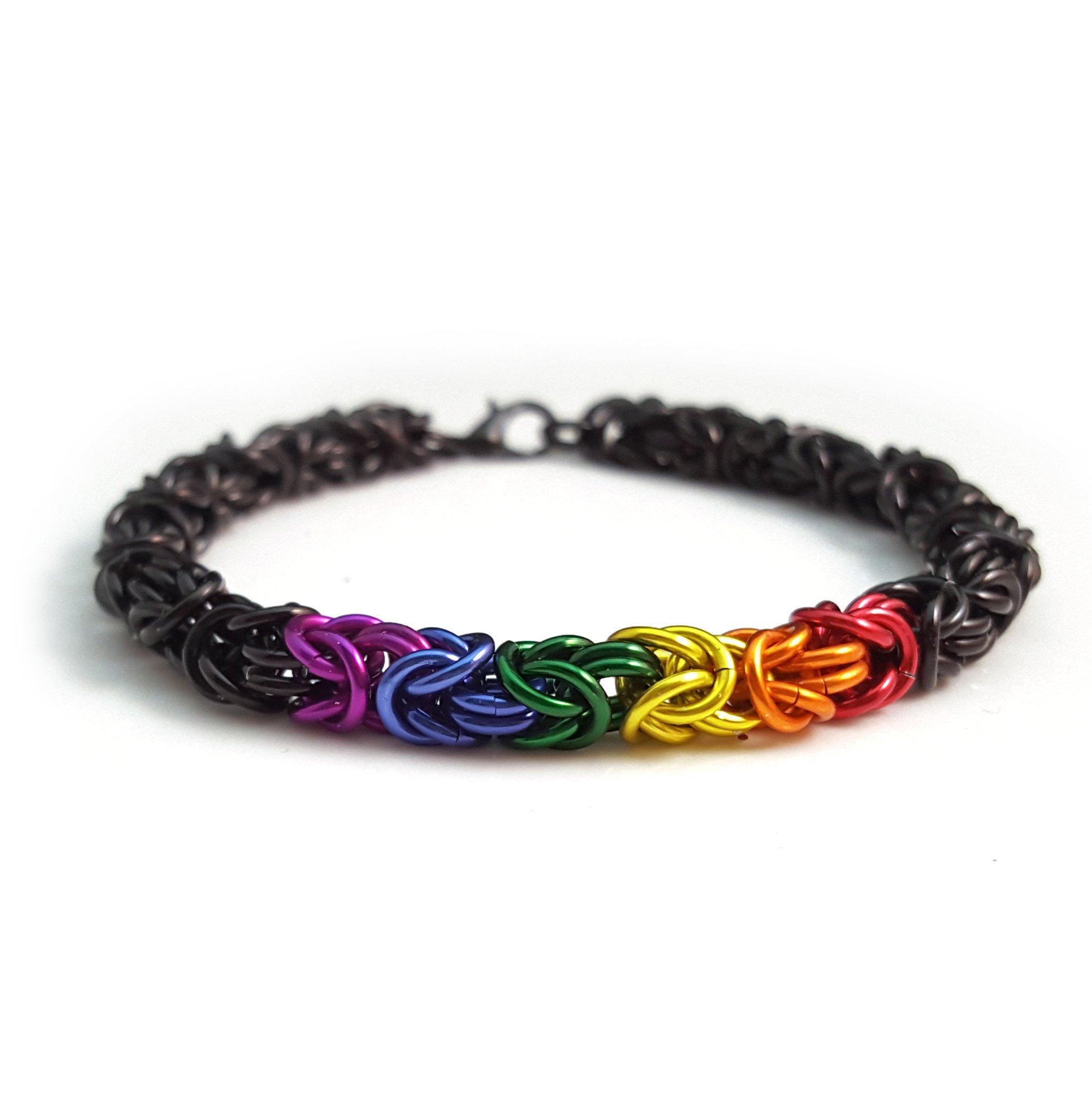 Black & Rainbow Chainmaille Bracelet