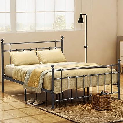 Amazon Com Metal Queen Bed Frame Platform With Steel Headboard And