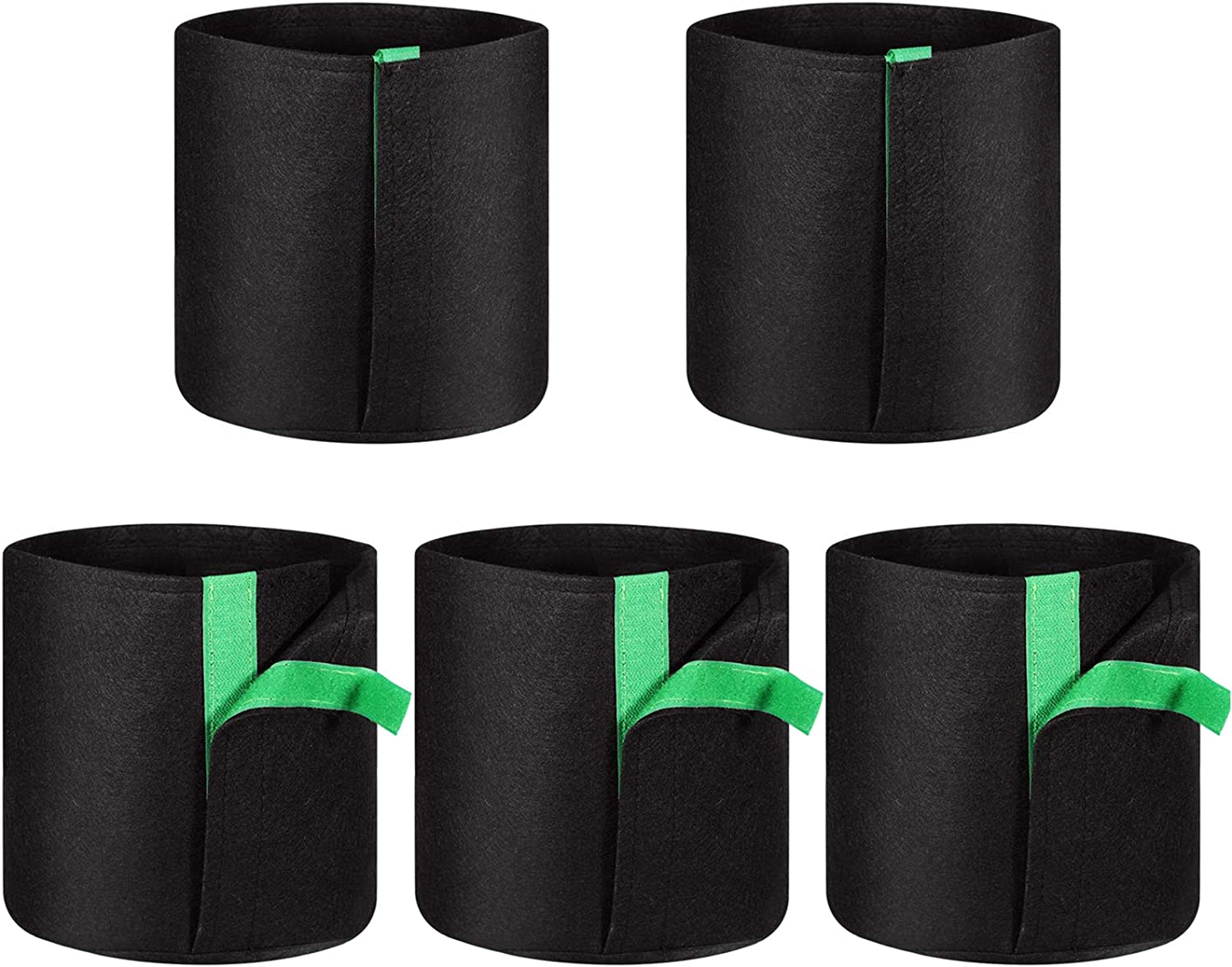 Two Sides Window Heavy Duty Thickened Aeration Nonwoven Fabric Pots with Handles Potato Planter Plant Grow Bags 3 Pack 5 Gallon