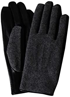 Flannel Sheep Leather Gloves 1337-699-1032: Grey