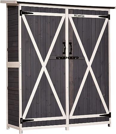 Mcombo 1400 - Organizador de madera para jardín con puertas dobles con cerradura: Amazon.es: Bricolaje y herramientas