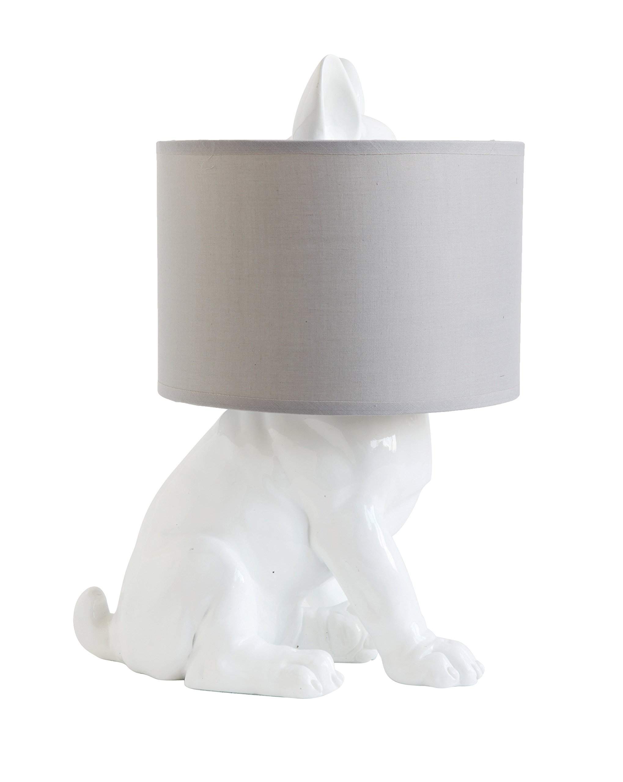 Creative Co-op Dog Shaped Lamp with Linen Shade