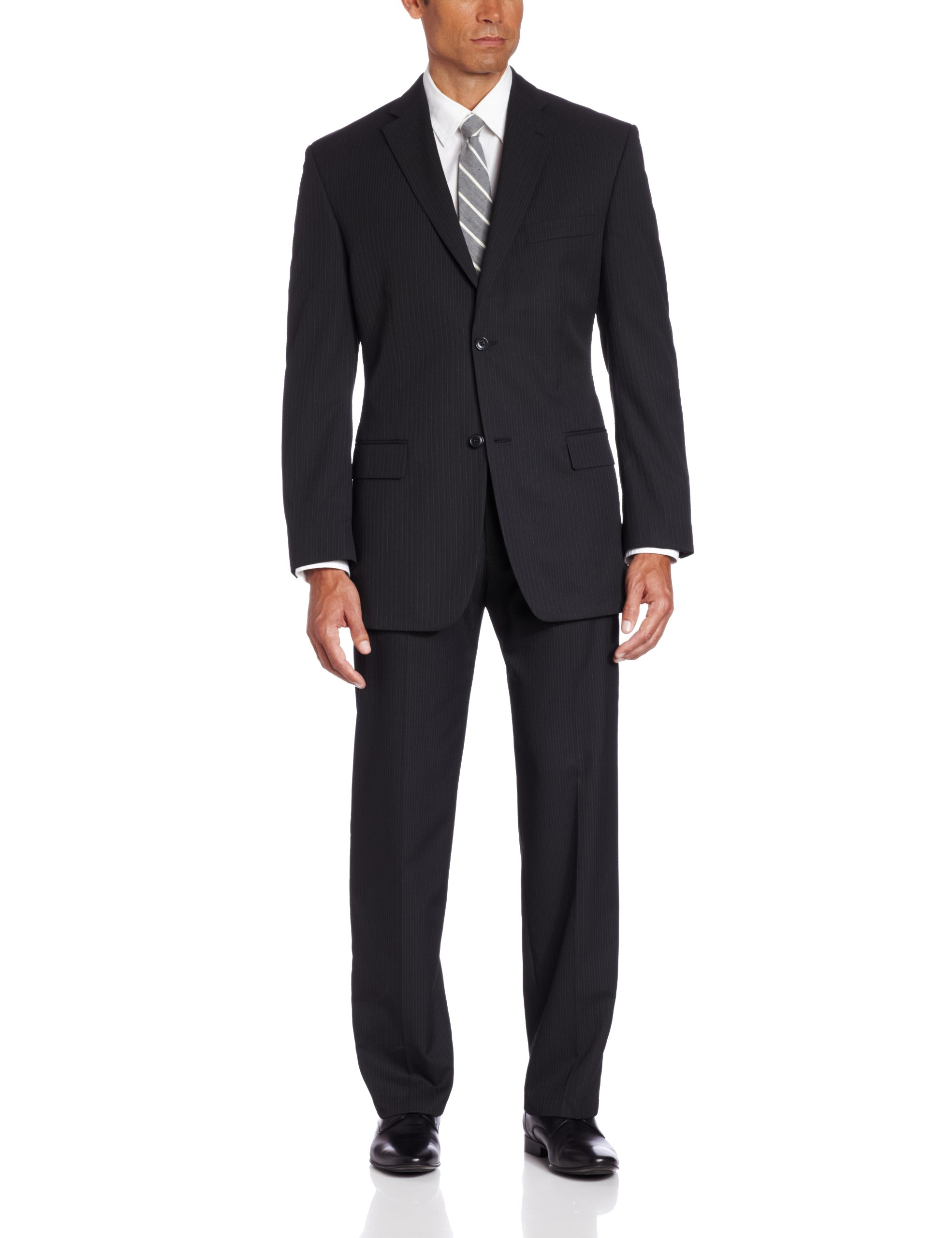 Haggar Men's Big-Tall Big and Tall Multi Bead Stripe 2-Button Center Vent Suit Separate Coat, Black, 54/Large
