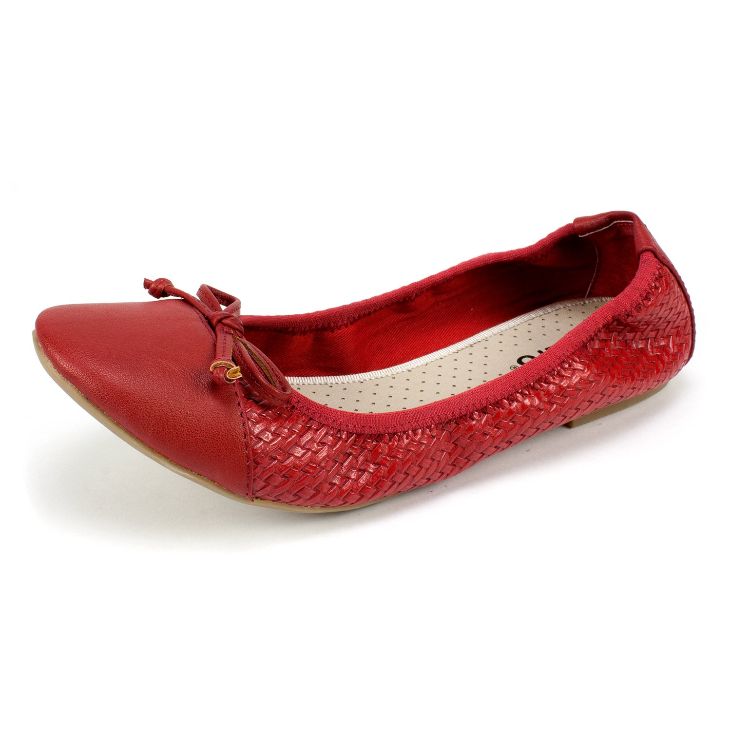 RIALTO Shoes Sunnyside II Women's Flat, RED/Woven, 7 M