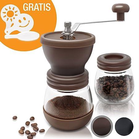 Amazy manuelle Kaffeemühle inkl. Extra-Behälter + 16 Schablonen – Handbetriebene Mühle mit Keramikmahlwerk für feinsten, fris
