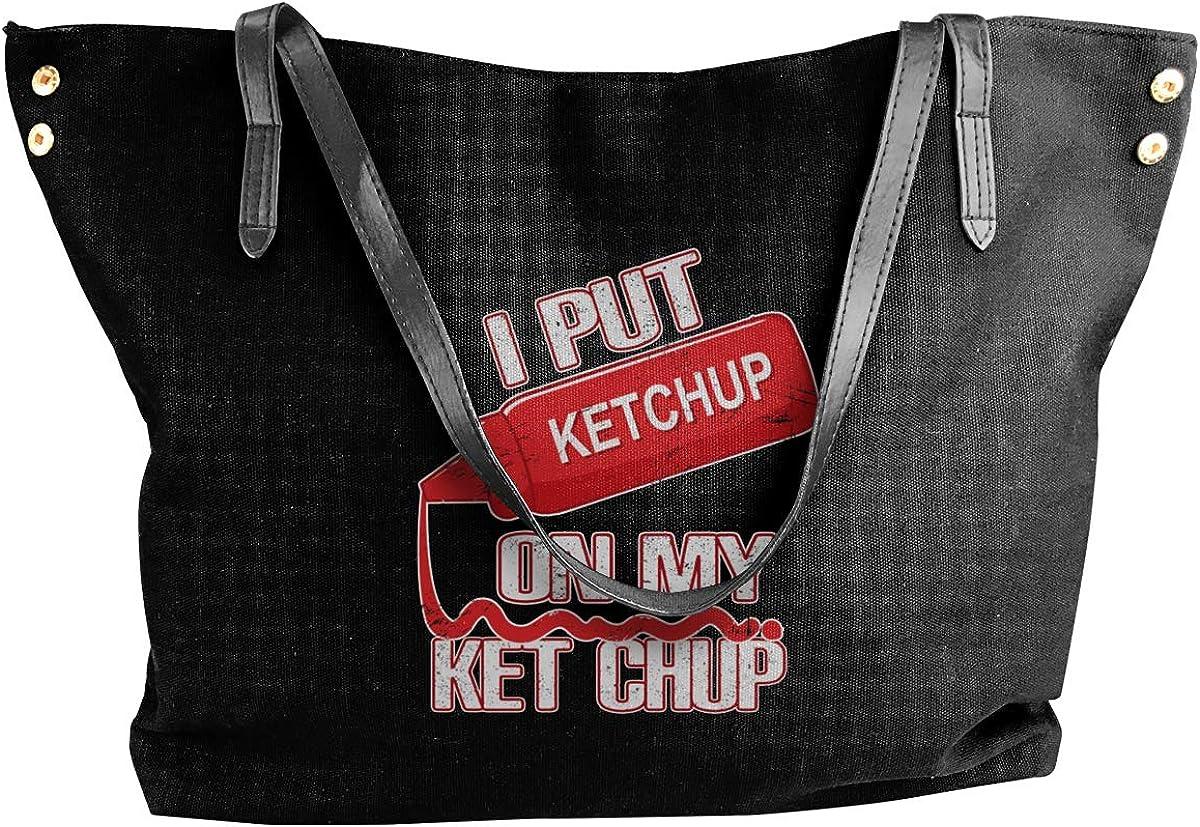 I Put Ketchup On My Ketchup Womens Tote Bags Canvas Shoulder Bag Casual Handbags