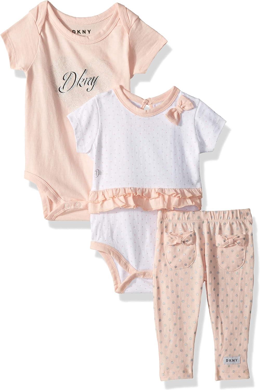 DKNY Baby Girls 3 Piece Sweatheart Layette Set